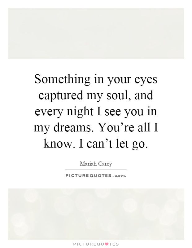 Something in your eyes captured my soul, and every night I see you in my dreams. You're all I know. I can't let go Picture Quote #1