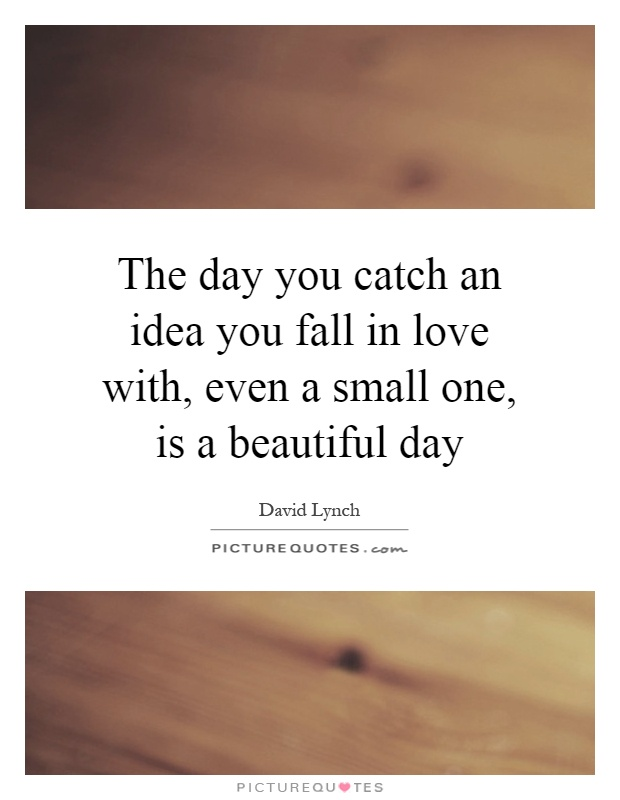 The day you catch an idea you fall in love with, even a small one, is a beautiful day Picture Quote #1