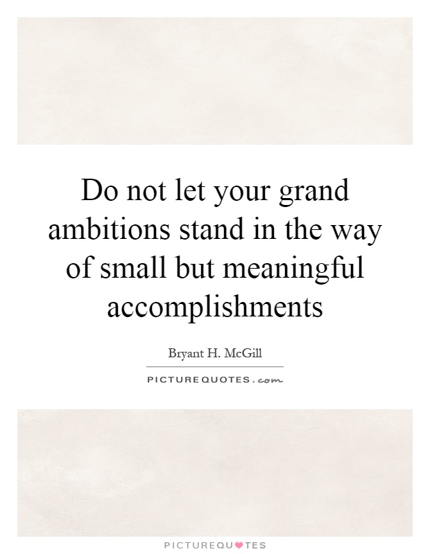 Do not let your grand ambitions stand in the way of small but meaningful accomplishments Picture Quote #1