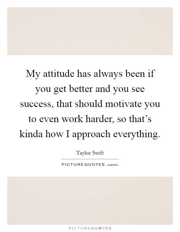 My attitude has always been if you get better and you see success, that should motivate you to even work harder, so that's kinda how I approach everything Picture Quote #1