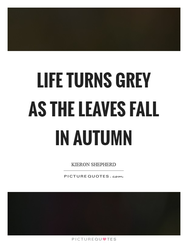 Life turns grey as the leaves fall in Autumn Picture Quote #1