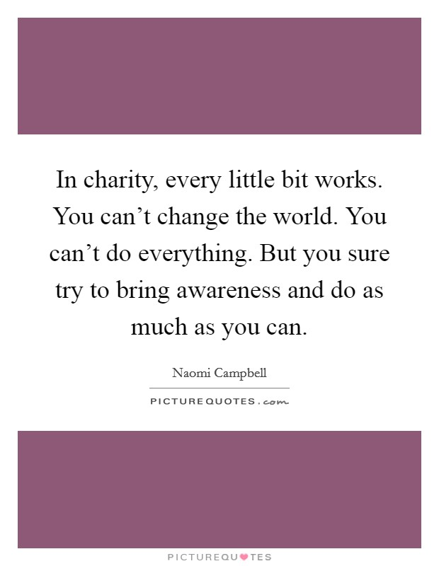 In charity, every little bit works. You can't change the world. You can't do everything. But you sure try to bring awareness and do as much as you can. Picture Quote #1