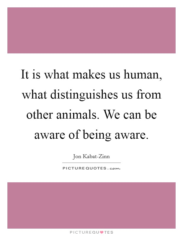 It is what makes us human, what distinguishes us from other animals. We can be aware of being aware Picture Quote #1
