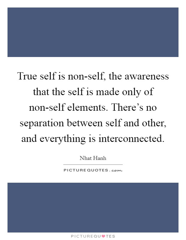 True self is non-self, the awareness that the self is made only of non-self elements. There's no separation between self and other, and everything is interconnected Picture Quote #1