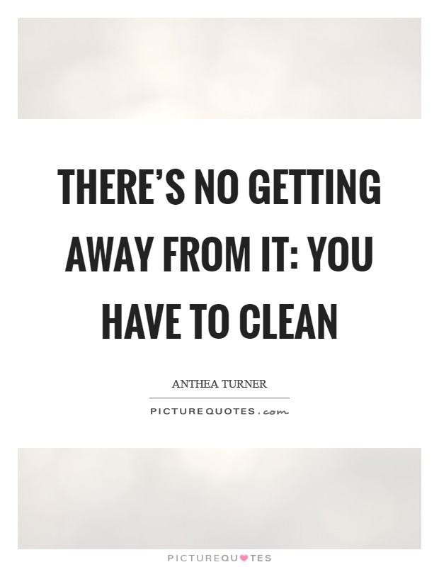 There's no getting away from it: you have to clean Picture Quote #1
