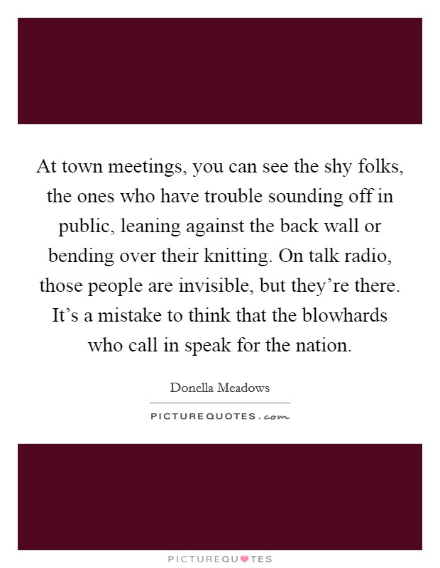 At town meetings, you can see the shy folks, the ones who have trouble sounding off in public, leaning against the back wall or bending over their knitting. On talk radio, those people are invisible, but they're there. It's a mistake to think that the blowhards who call in speak for the nation Picture Quote #1