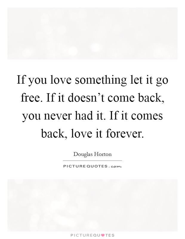 If you love something let it go free. If it doesn't come back, you never had it. If it comes back, love it forever Picture Quote #1
