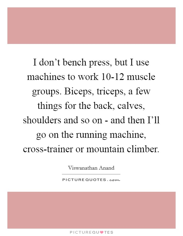 I don't bench press, but I use machines to work 10-12 muscle groups. Biceps, triceps, a few things for the back, calves, shoulders and so on - and then I'll go on the running machine, cross-trainer or mountain climber Picture Quote #1