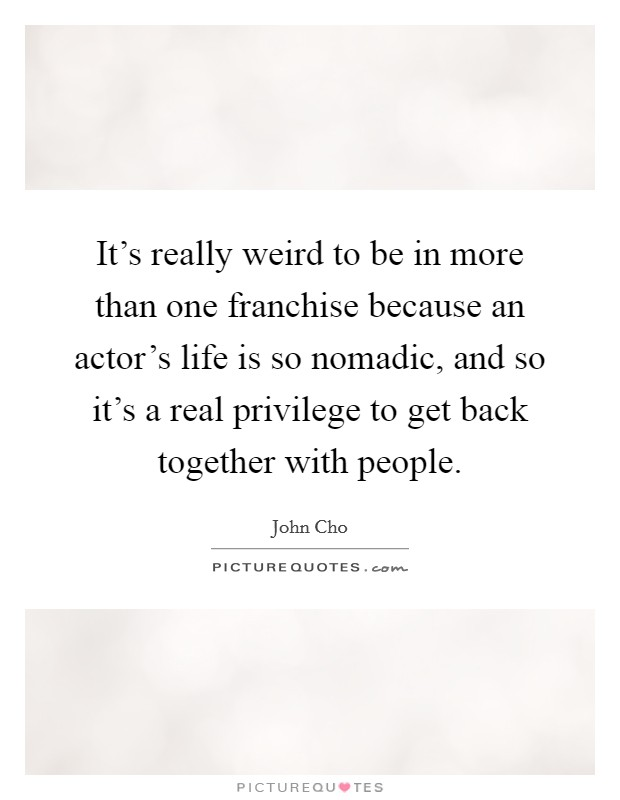 It's really weird to be in more than one franchise because an actor's life is so nomadic, and so it's a real privilege to get back together with people Picture Quote #1