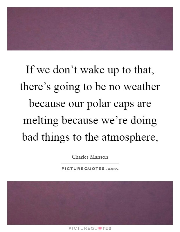 If we don't wake up to that, there's going to be no weather because our polar caps are melting because we're doing bad things to the atmosphere, Picture Quote #1