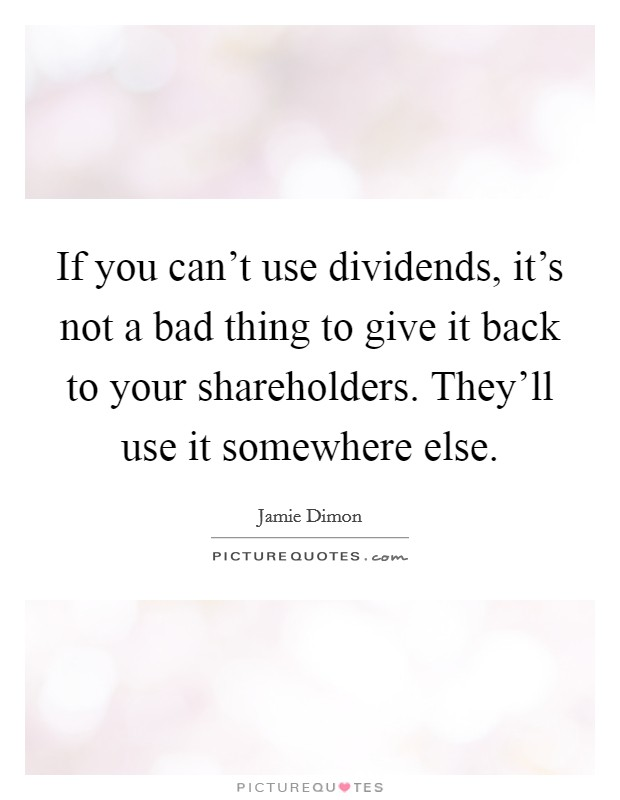 If you can't use dividends, it's not a bad thing to give it back to your shareholders. They'll use it somewhere else Picture Quote #1
