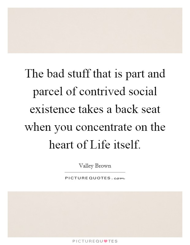 The bad stuff that is part and parcel of contrived social existence takes a back seat when you concentrate on the heart of Life itself Picture Quote #1