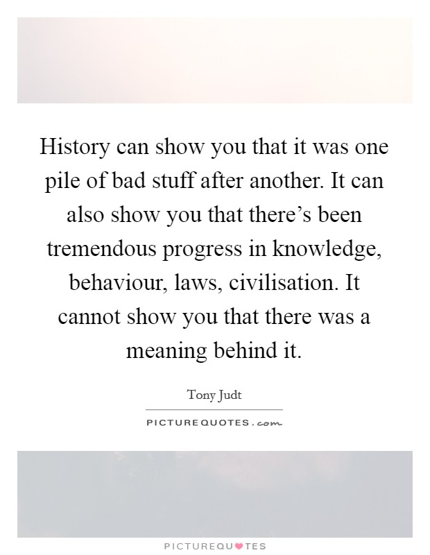 History can show you that it was one pile of bad stuff after another. It can also show you that there's been tremendous progress in knowledge, behaviour, laws, civilisation. It cannot show you that there was a meaning behind it. Picture Quote #1