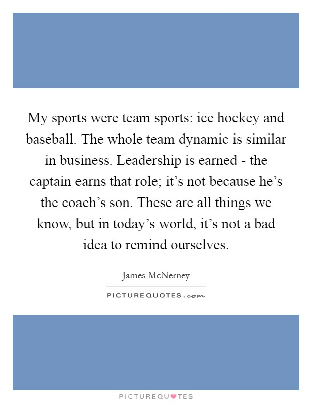 My sports were team sports: ice hockey and baseball. The whole team dynamic is similar in business. Leadership is earned - the captain earns that role; it's not because he's the coach's son. These are all things we know, but in today's world, it's not a bad idea to remind ourselves Picture Quote #1
