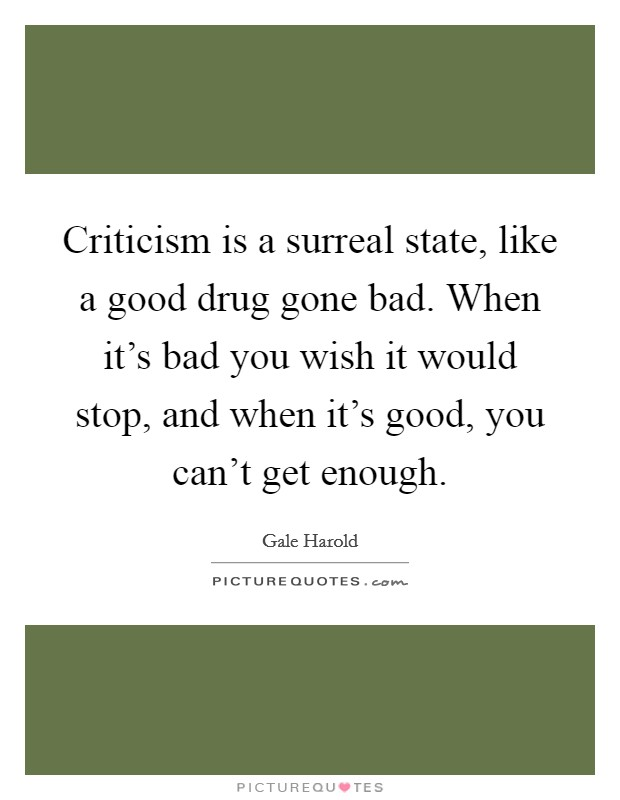 Criticism is a surreal state, like a good drug gone bad. When it's bad you wish it would stop, and when it's good, you can't get enough Picture Quote #1