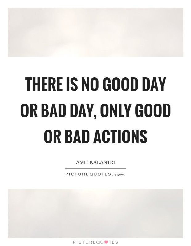 There is no good day or bad day, only good or bad actions Picture Quote #1