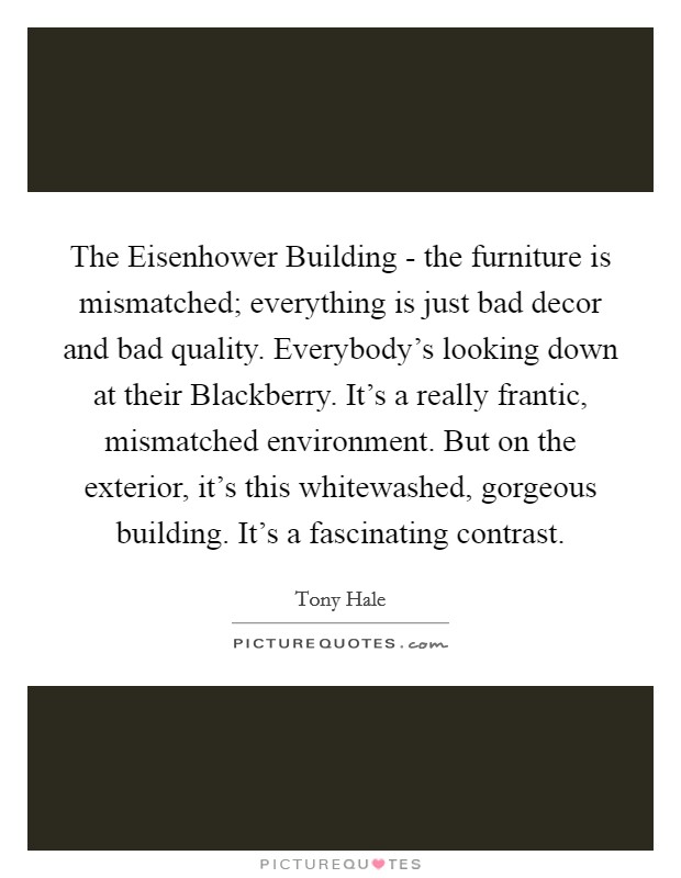 The Eisenhower Building - the furniture is mismatched; everything is just bad decor and bad quality. Everybody's looking down at their Blackberry. It's a really frantic, mismatched environment. But on the exterior, it's this whitewashed, gorgeous building. It's a fascinating contrast Picture Quote #1