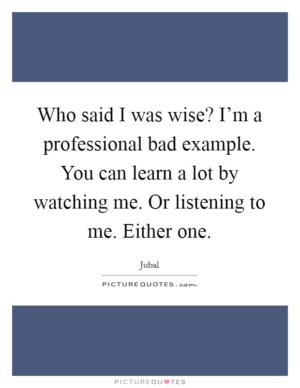 Who said I was wise? I'm a professional bad example. You can learn a lot by watching me. Or listening to me. Either one Picture Quote #1