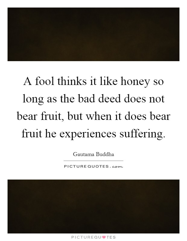 A fool thinks it like honey so long as the bad deed does not bear fruit, but when it does bear fruit he experiences suffering Picture Quote #1