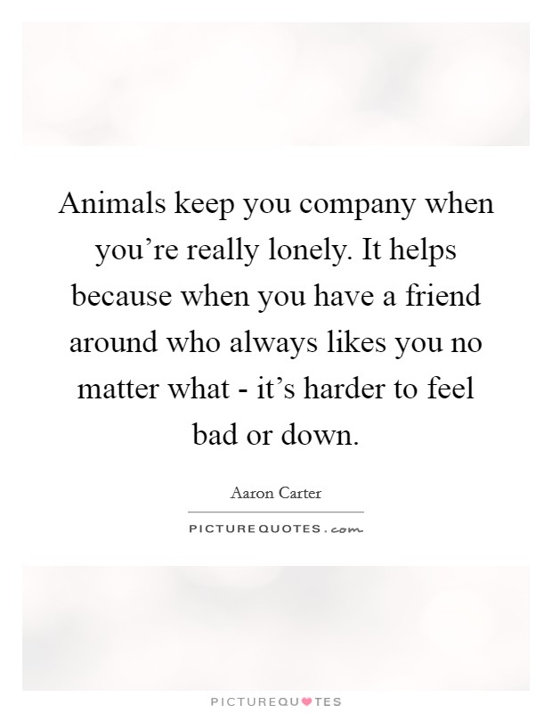 Animals keep you company when you're really lonely. It helps because when you have a friend around who always likes you no matter what - it's harder to feel bad or down Picture Quote #1