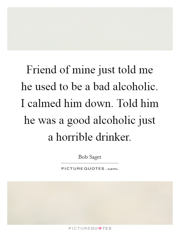 Friend of mine just told me he used to be a bad alcoholic. I calmed him down. Told him he was a good alcoholic just a horrible drinker Picture Quote #1