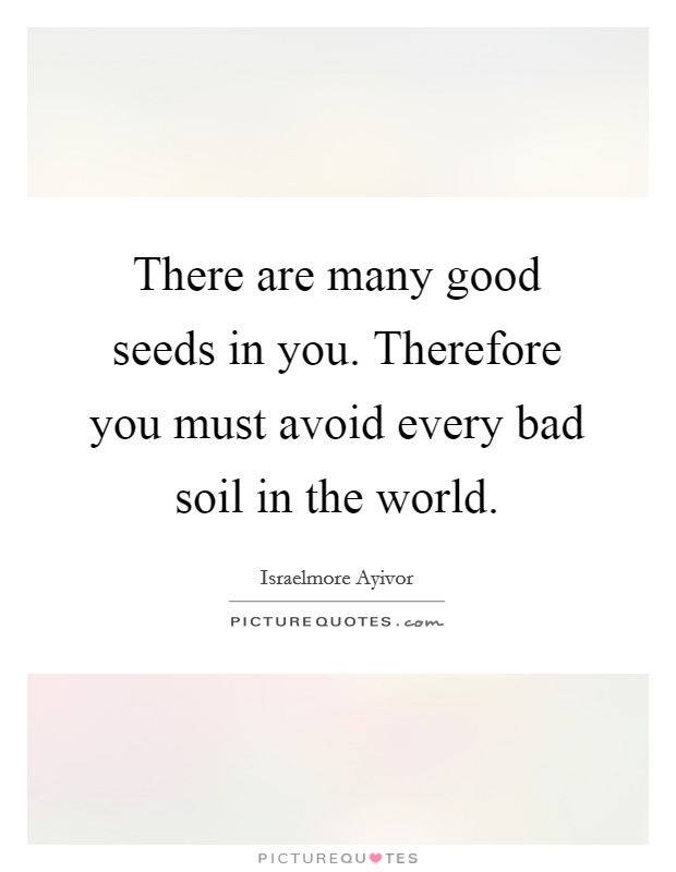 There are many good seeds in you. Therefore you must avoid every bad soil in the world Picture Quote #1