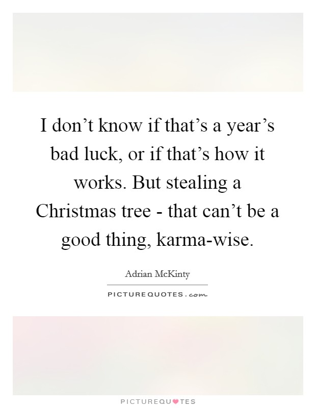 I don't know if that's a year's bad luck, or if that's how it works. But stealing a Christmas tree - that can't be a good thing, karma-wise Picture Quote #1