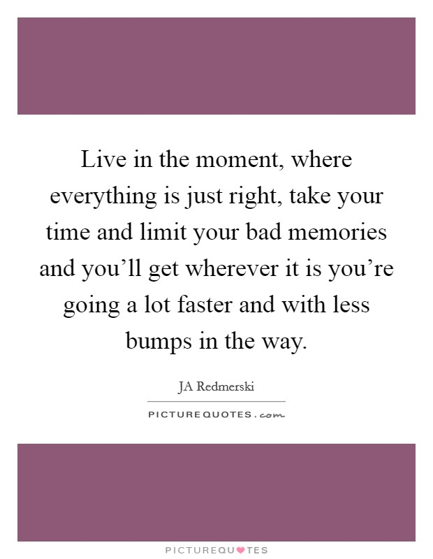 Live in the moment, where everything is just right, take your time and limit your bad memories and you'll get wherever it is you're going a lot faster and with less bumps in the way Picture Quote #1