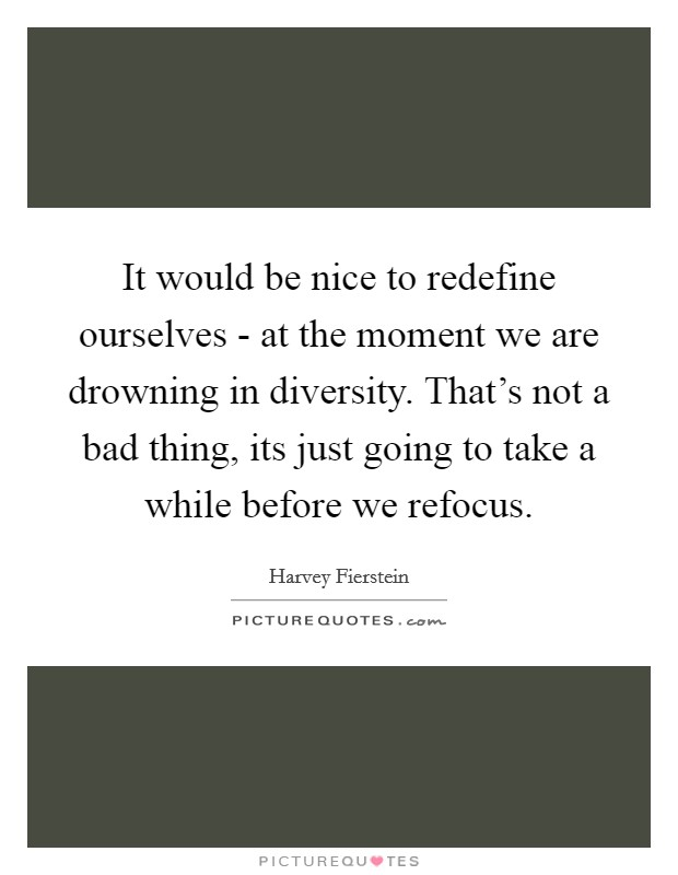 It would be nice to redefine ourselves - at the moment we are drowning in diversity. That's not a bad thing, its just going to take a while before we refocus Picture Quote #1