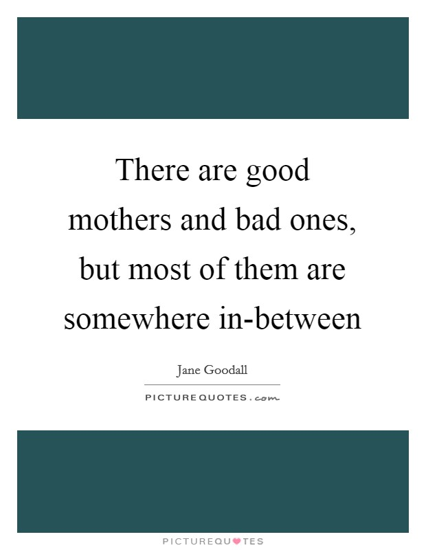 There are good mothers and bad ones, but most of them are somewhere in-between Picture Quote #1
