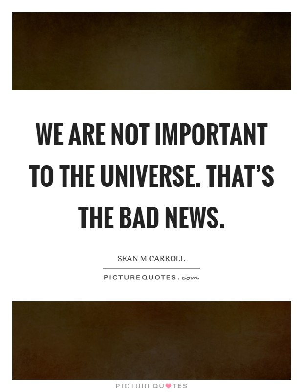We are not important to the universe. That's the bad news. Picture Quote #1