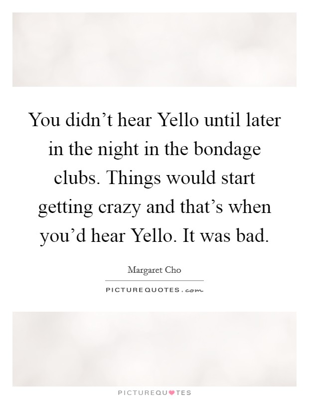 You didn't hear Yello until later in the night in the bondage clubs. Things would start getting crazy and that's when you'd hear Yello. It was bad Picture Quote #1