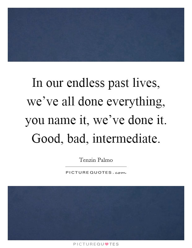 In our endless past lives, we've all done everything, you name it, we've done it. Good, bad, intermediate Picture Quote #1
