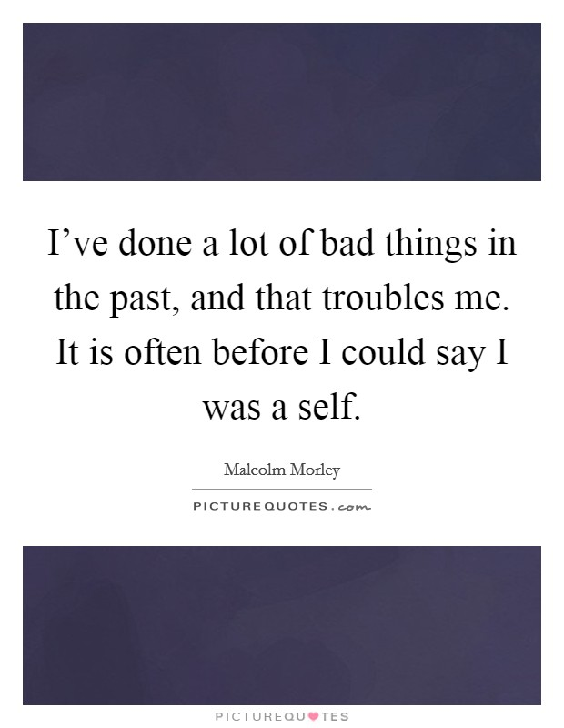 I've done a lot of bad things in the past, and that troubles me. It is often before I could say I was a self Picture Quote #1