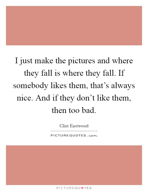 I just make the pictures and where they fall is where they fall. If somebody likes them, that's always nice. And if they don't like them, then too bad Picture Quote #1