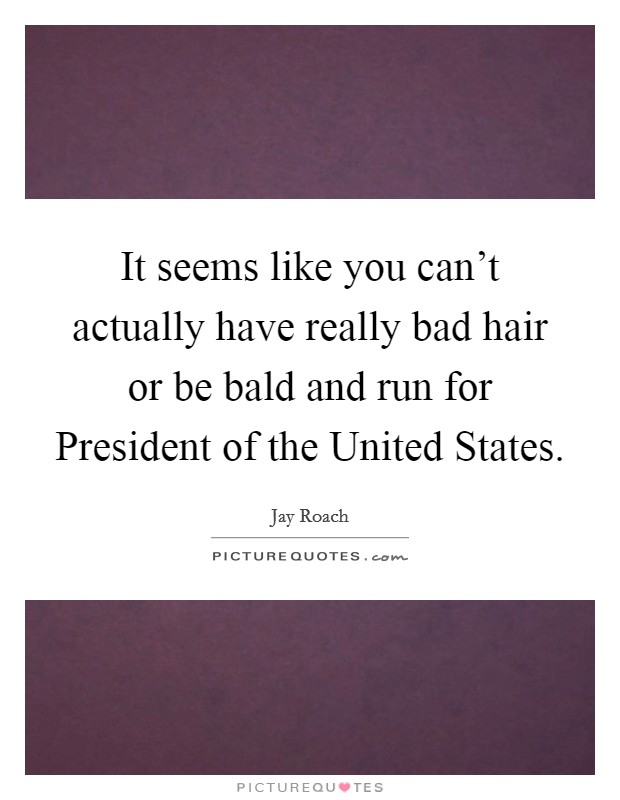 It seems like you can't actually have really bad hair or be bald and run for President of the United States Picture Quote #1