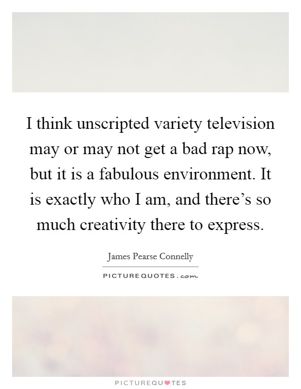 I think unscripted variety television may or may not get a bad rap now, but it is a fabulous environment. It is exactly who I am, and there's so much creativity there to express Picture Quote #1