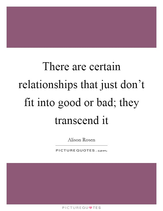 There are certain relationships that just don't fit into good or bad; they transcend it Picture Quote #1