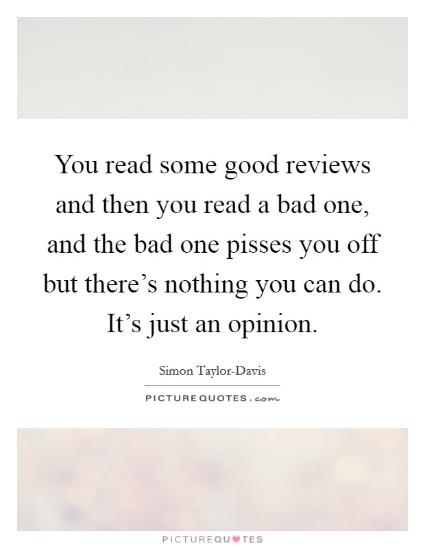 You read some good reviews and then you read a bad one, and the bad one pisses you off but there's nothing you can do. It's just an opinion Picture Quote #1