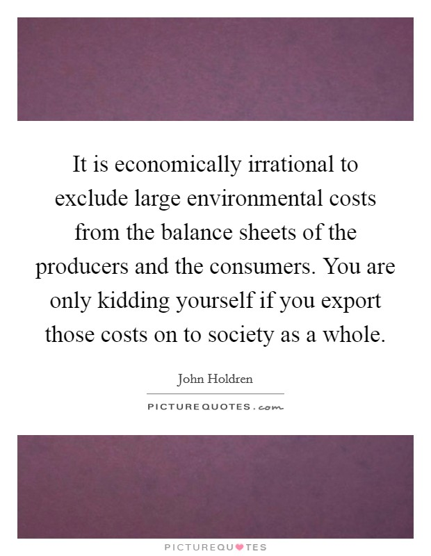 It is economically irrational to exclude large environmental costs from the balance sheets of the producers and the consumers. You are only kidding yourself if you export those costs on to society as a whole Picture Quote #1
