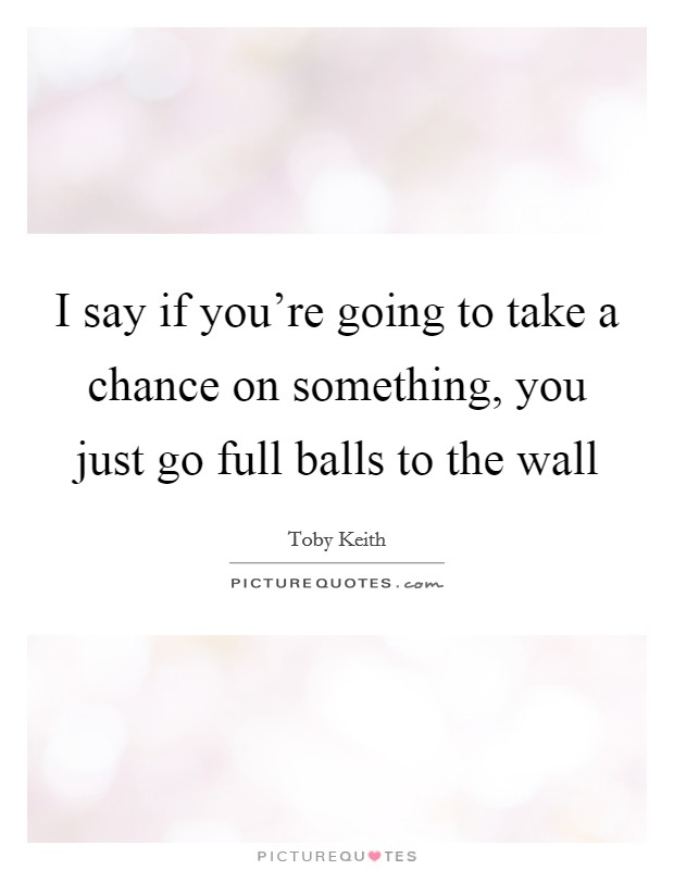I say if you're going to take a chance on something, you just go full balls to the wall Picture Quote #1