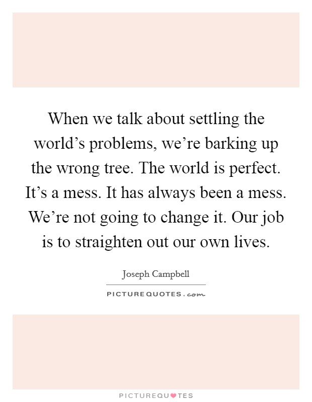 When we talk about settling the world's problems, we're barking up the wrong tree. The world is perfect. It's a mess. It has always been a mess. We're not going to change it. Our job is to straighten out our own lives Picture Quote #1