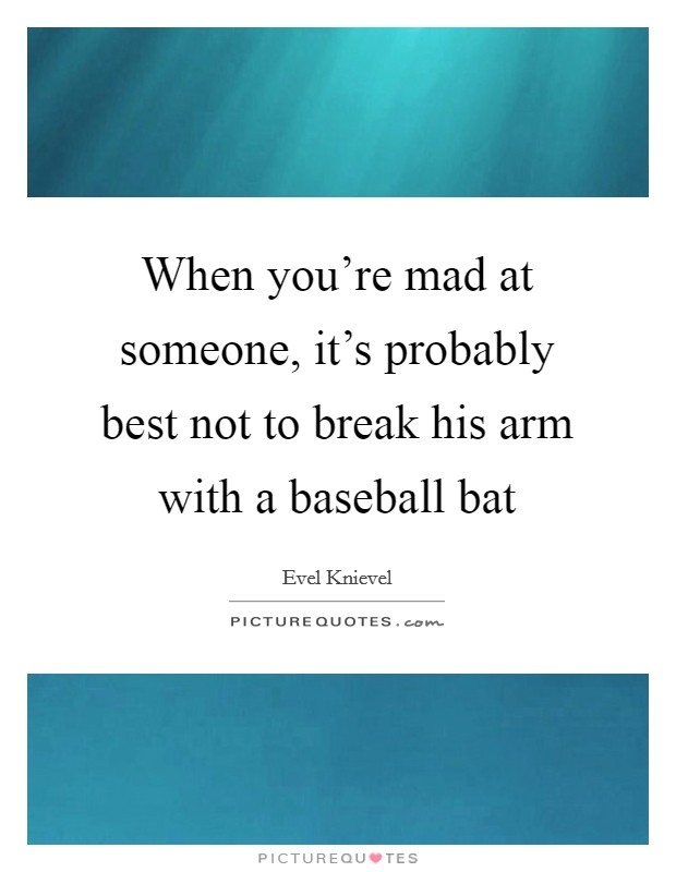 When you're mad at someone, it's probably best not to break his arm with a baseball bat Picture Quote #1
