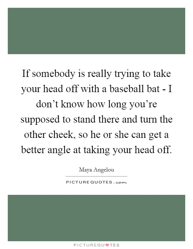 If somebody is really trying to take your head off with a baseball bat - I don't know how long you're supposed to stand there and turn the other cheek, so he or she can get a better angle at taking your head off Picture Quote #1