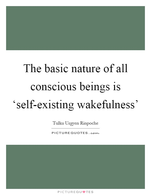 The basic nature of all conscious beings is 'self-existing wakefulness' Picture Quote #1