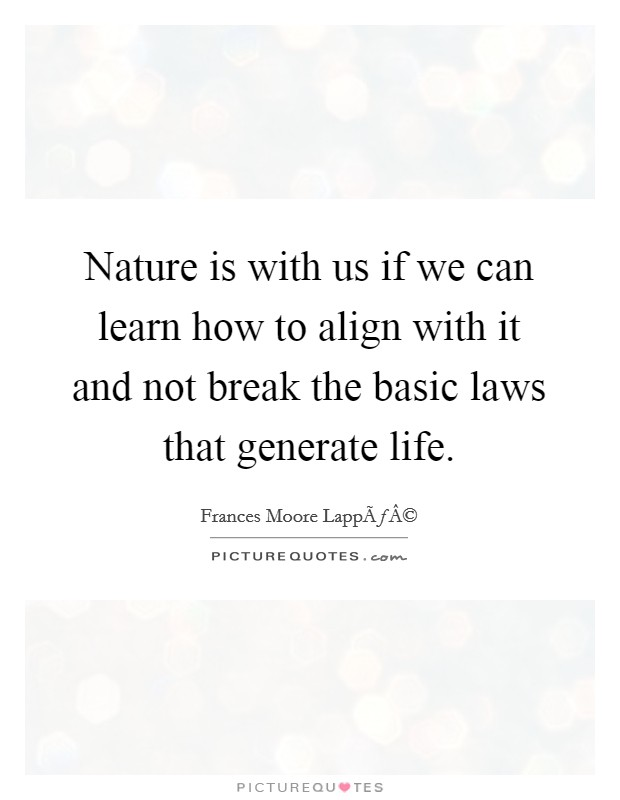 Nature is with us if we can learn how to align with it and not break the basic laws that generate life Picture Quote #1