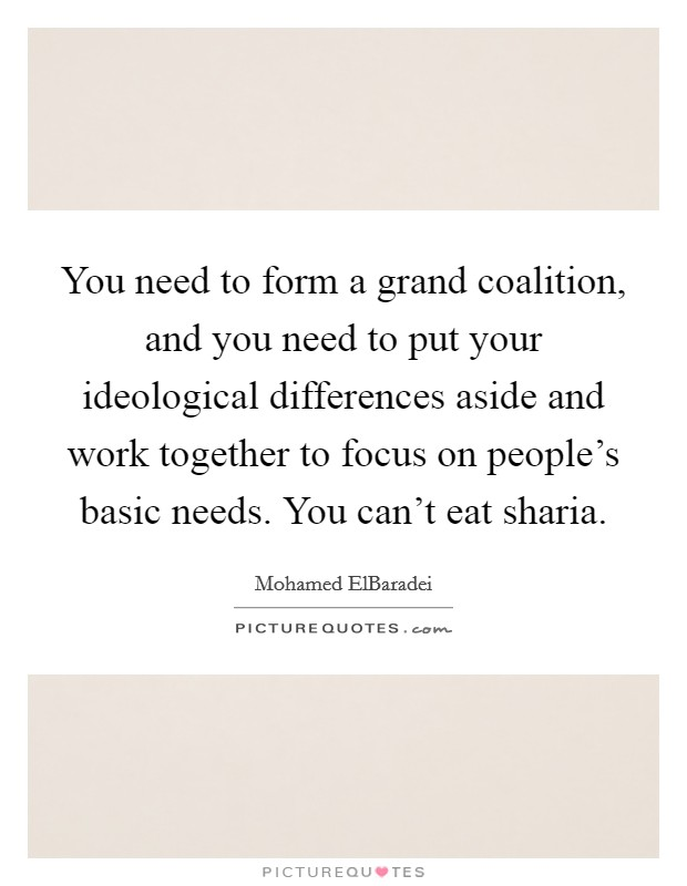You need to form a grand coalition, and you need to put your ideological differences aside and work together to focus on people's basic needs. You can't eat sharia Picture Quote #1