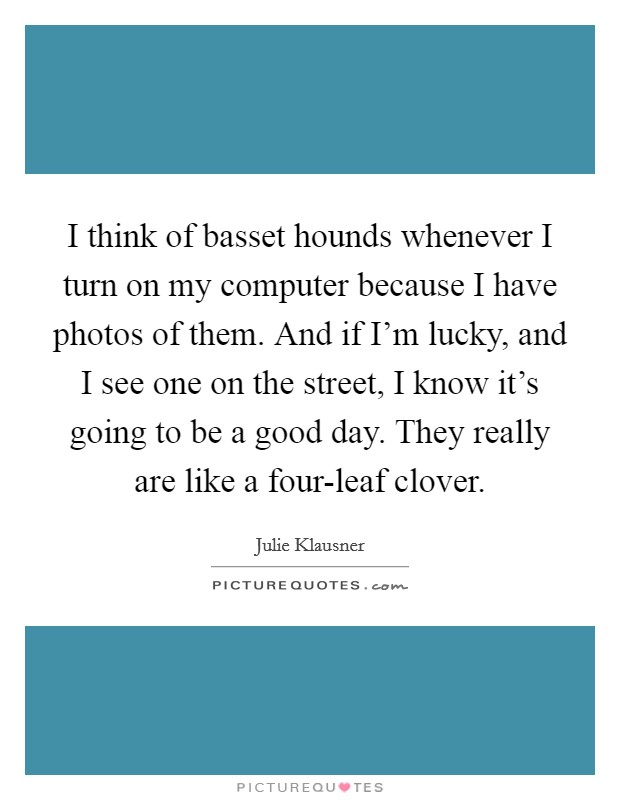 I think of basset hounds whenever I turn on my computer because I have photos of them. And if I'm lucky, and I see one on the street, I know it's going to be a good day. They really are like a four-leaf clover Picture Quote #1