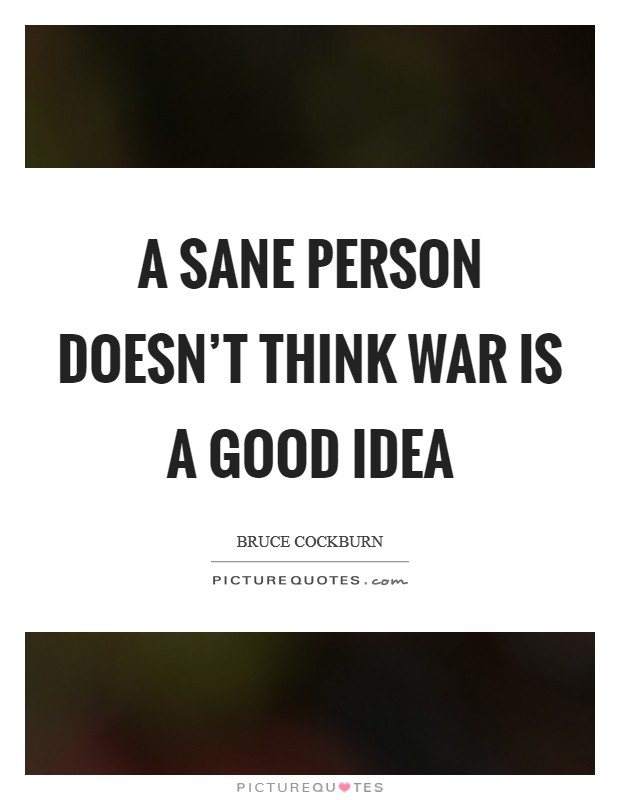 A sane person doesn't think war is a good idea Picture Quote #1