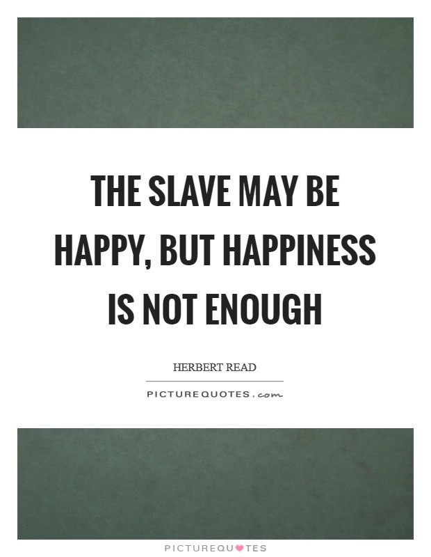 The slave may be happy, but happiness is not enough Picture Quote #1